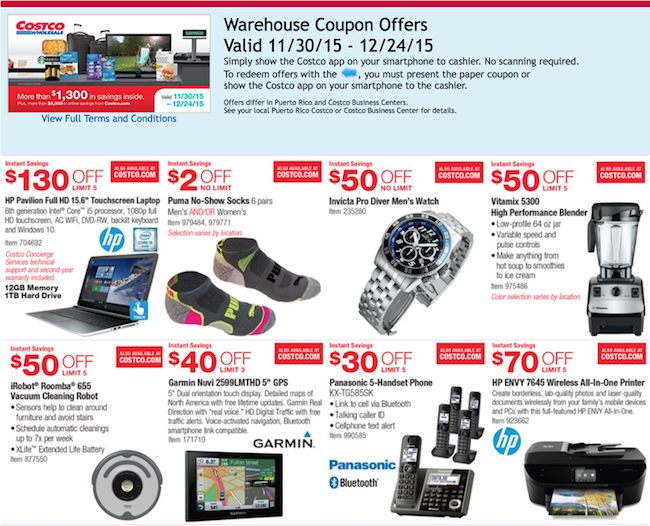 Costco December 2015 coupons