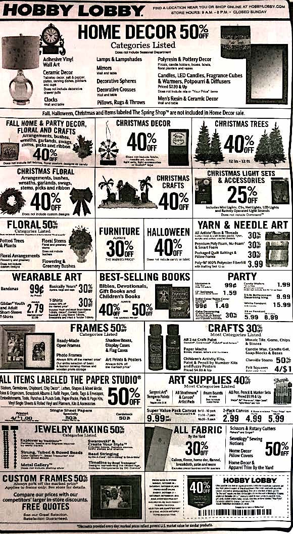 Hobby Lobby Weekly Ad